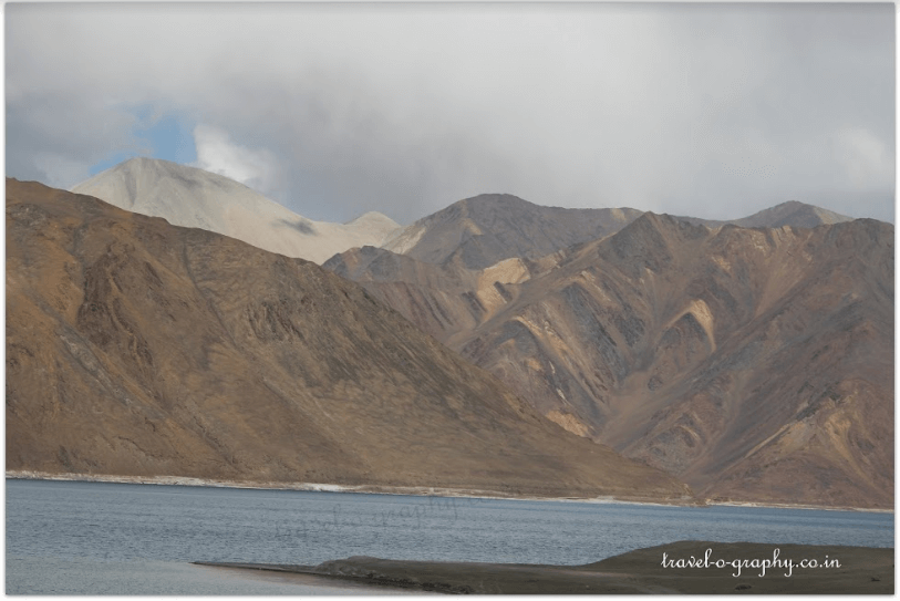 Pangong Tso with mountains in the backdrop